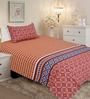 Salona Bichona Red Cotton 86 x 60 Inch Single Bed Sheet (with Single Pillow Cover)