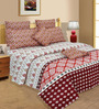 Salona Bichona Red Abstract 106 x 106 Inch King Size Bedsheet (with Pillow Covers)