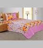 Salona Bichona Pink 100% Cotton Floral Single Bed Sheet (with Pillow Cover) - Set of 2