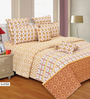 Salona Bichona Yellow Cotton Stripes & Checks 106 x 106 Inch Bed Sheet Set (with Pillow Covers)