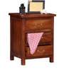 Prescott Three Drawer Bed Side Table in Honey Oak Finish by Woodsworth