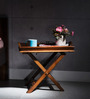 Fife Tray Cum End Table in Honey Oak Finish by Woodsworth