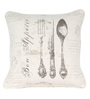 Sanaa Multicolour 100% Cotton 16 x 16 Inch Big Spoon Sets Directional Printed Cushion Cover