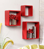 Santa Rosa Contemporary Wall Shelves Set of 3 in Red by CasaCraft