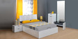 Scoop High Gloss Queen Bedroom Set in White Colour by @home