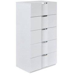 Scoop High Gloss Chest of Five Drawers in White Colour by @home