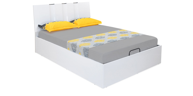 Scoop High Gloss King Bed with Storage in White Colour by @home