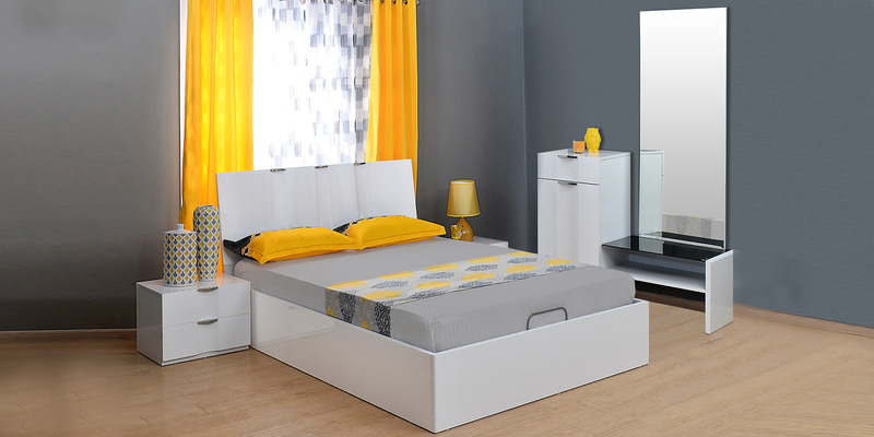 Scoop High Gloss King Bedroom Set in White Colour by @home