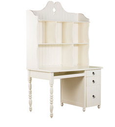 Seaside Dreams Theme Desk with Hutch Cabinet in Ivory Finish by Pink Guppy