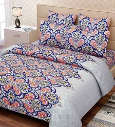 SEJ by Nisha Gupta Blue 100% Cotton Floral Double Bed Sheet (with Pillow Cover) - Set of 3