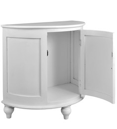 Semi Circle Side Cabinet in White Colour by The Yellow Door Store