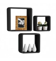 Home Sparkle Black Engineered Wood Wall Shelf - Set of 3