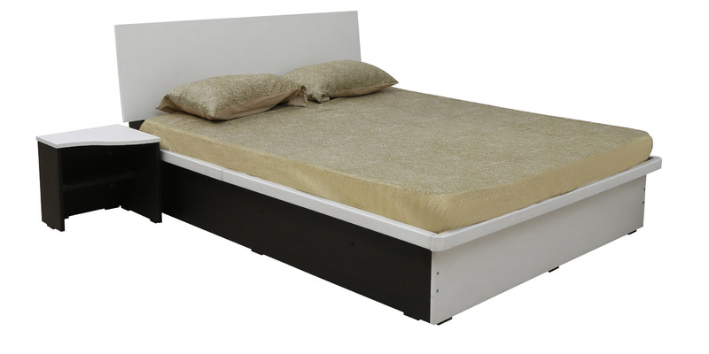 Series 36 Queen Bed with One Side Table in Frosty White Colour by Rawat