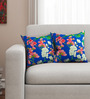 Sej by Nisha Gupta Blue Cotton 16 x 16 Inch HD Digital Premium Royal Floral Cushion Covers - Set of 2