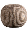 Senorita Cotton Yarn Knitted Pouffe in White & Beige Colour by Purplewood