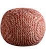 Senorita Cotton Yarn Knitted Pouffe in White & Orange Colour by Purplewood