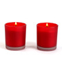 Hosley Apple Cinnamon Scent Red Glass Candle - Set of Two