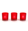 Hosley Red Frosted Glass Tea Light Holder - Set of 3