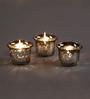 Hosley Silver Glass Tea Light Holder - Set of 3