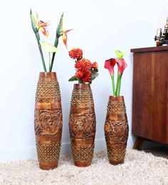 Shagun Arts Brown Sheesham Wood Vases - Set Of 3 - 1589366