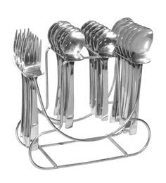 Shapes Koko Alpha Stainless Steel Cutlery Set Of Baby Spoons & Forks With Stand  - Set Of 25