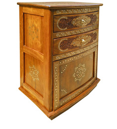 Sheesham Wood Bar Cabinet with Fine Brass Inlay Work by Saaga