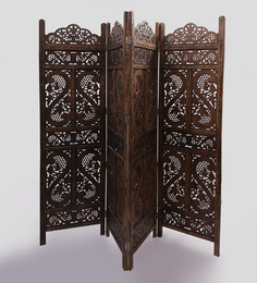 Shilpi Brown Wooden Divine Partition Screen Room Divider In 4 Panel