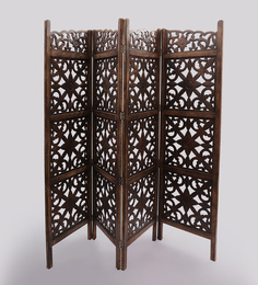 Shilpi Brown Wooden Partition Screen Room Divider In 4 Panel