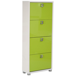 Enichiro Four Door Shoe Cabinet in High Gloss Green Colour by Mintwud