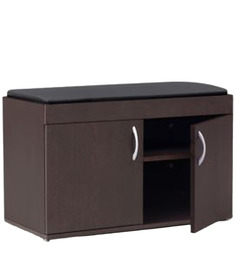 Shoe Cabinet With Cushion In Black Leatherette Upholstery & Wenge Finish By Exclusive Furniture