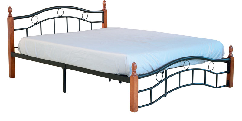 Shiro Queen Size Metal Bed with Wooden Post in Black & Oak Finish by Mintwud