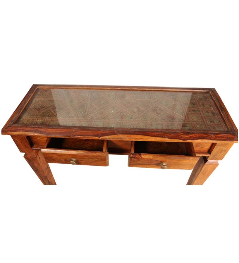 Rajputana sheesham wood glass top center table by mudra for Furniture centre table