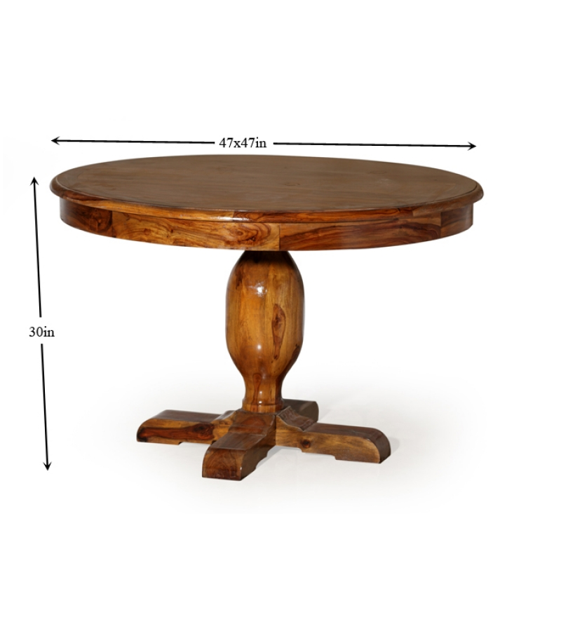 Olida sheesham wood round dining table by mudra online for Cheap round wooden dining tables