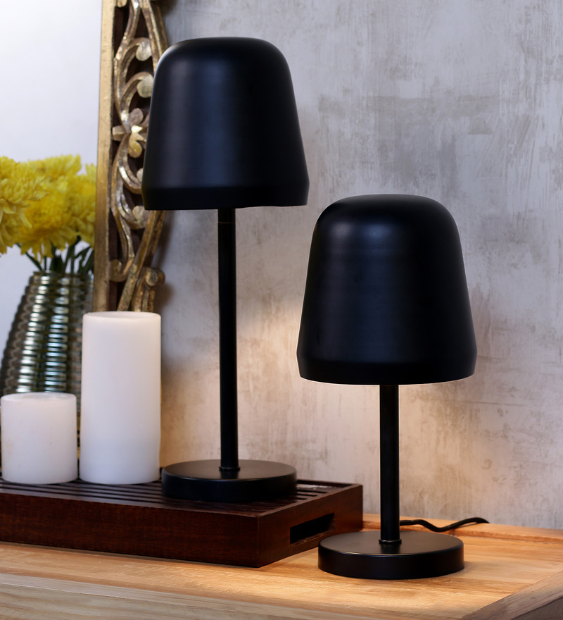 Shaz Living Venice Black Metal Table Lamp Set  available at Pepperfry for Rs.5479