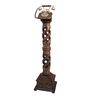 Shah Kreations Brown Mango Wood Antique Pedestal Rope Design Retro Telephone