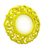 Shah Kreations Yellow Wooden Beautifully Carved Mirror Cum Key Hanger