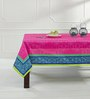 Shahenaz Home Shop Blue Poly Dupion 88 x 60 Inch Table Cloth