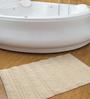 Shahenaz Home Shop Cream Cotton 24 x 16 Inch Bath Mat