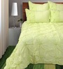 Shahenaz Home Shop Rosette Green Cotton Solid King Quilt - Set of 2