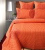 Shahenaz Home Shop Orange Cotton Solid King Quilt - Set of 2