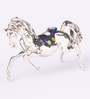 Shaze Silver Resin with Silver Plating The Blue Horse Showpiece
