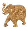 ShopEndHere Gold Brass Elephant Beautiful Showpiece