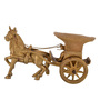 ShopEndHere Gold Brass Horse Cart Showpiece