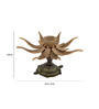 ShopEndHere Gold Brass Lotus Flower Design Over Turtle Candle Brass Oil Lamp Diya Stand