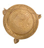 ShopEndHere Gold Brass Om Table Showpiece
