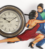 ShriNath Gold MDF 14 x 1.5 x 18 Inch Couple Handmade Handicraft Wall Clock