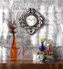 ShriNath Multicolour MDF 12 Inch Round Peacock Mounted Wall Clock