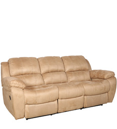 Siddis Three Seater Manual Recliner Sofa in Beige Colour by Sofab