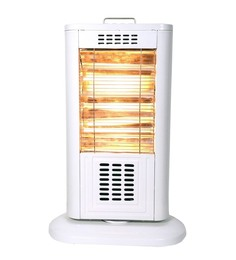 SignoraCare 1200 Watts 3 quartz rods Oscillating Heat Pillar in Metallic body -Ivory White
