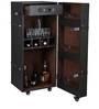 Single Door Leather Trunk Bar Cabinet in Black Color by Studio Ochre